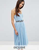 Little Mistress Bandeau Embellished Midi Dress With Tulle Skirt