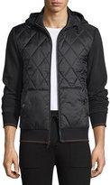 Michael Kors Quilted-Front Zip Hoodie, Black