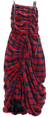 Noir Kei Ninomiya Ruched Asymmetrical Tartan Wool-blend Dress - Red Multi