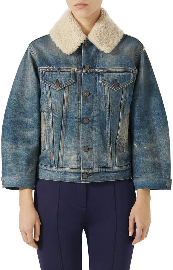 Gucci Print Back Denim Jacket with Genuine Shearling Trim