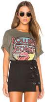 Daydreamer Rolling Stones Retro Tongue Boyfriend Tee in Green. - size M (also in )