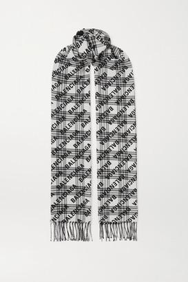 Balenciaga Fringed Checked Wool-jacquard Scarf - Black
