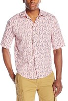 Scotch & Soda Men's Short Sleeve Shirt with Big All-Over Print On Top Of Woven Checks