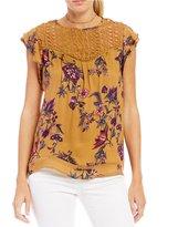 Jolt Floral Lace-Yoke Flutter-Sleeve Top