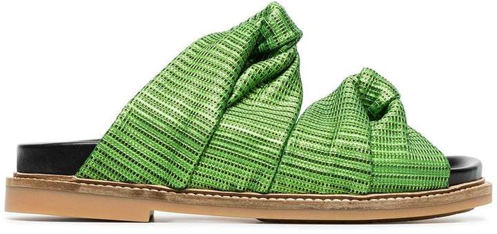 Ganni green Anoush knotted embossed leather slides