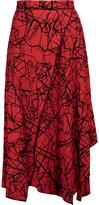Proenza Schouler Flocked wrap-effect crepe midi skirt