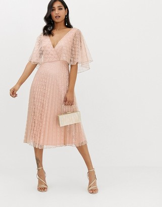 Asos Design DESIGN midi dress flutter sleeve and pleat skirt in lace-Beige