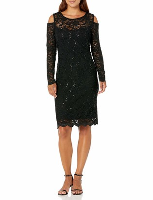 Tiana B T I A N A B. Women's Petite Long Sleeve Cold Shoulder Floral Sequin Scallop Lace