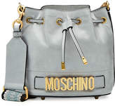 Moschino Logo Leather Drawstring Bag