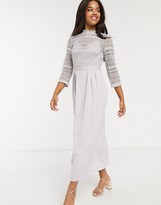 Thumbnail for your product : Little Mistress lace detail midaxi dress in ice grey