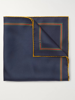 Gucci Logo Contrast-Tipped Silk Pocket Square