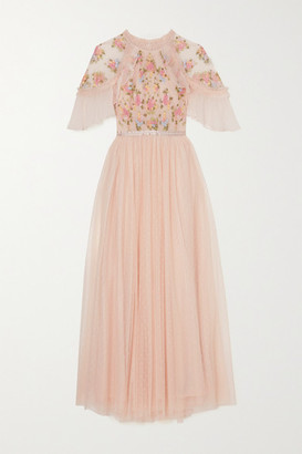 Needle & Thread Emma Ruffled Embroidered Tulle Midi Dress - Pink