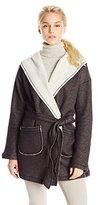 Sanctuary Women's Fleece Blanket Wrap Coat