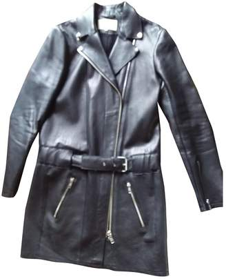 Maje Black Leather Trench coats