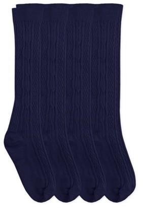 Jefferies Socks Kids Socks, 4 Pack Knee High School Uniform Cotton Cable, Sizes S-L