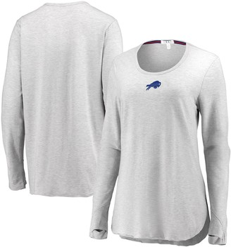 Buffalo David Bitton Unbranded Women's WEAR By Erin Andrews Heather Gray Bills Thumbhole Long Sleeve T-Shirt