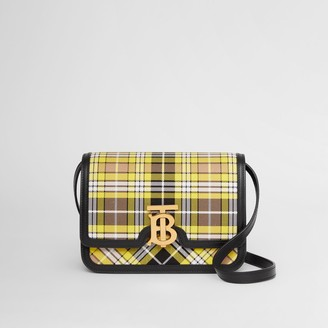 Burberry Small Tartan Cotton and Leather TB Bag