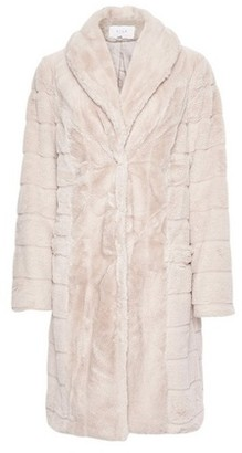 Dorothy Perkins Womens Vila Cream Carved Faux Fur Longline Coat, Cream