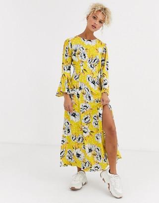 Ghost luisa floral midi dress in crepe
