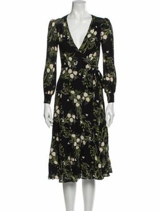 Reformation Floral Print Midi Length Dress Black