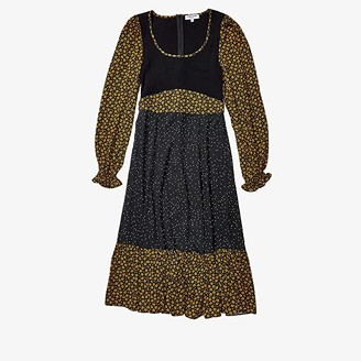 Opening Ceremony Long Sleeve Mixed Midi Dress (Goldenrod) Women's Clothing