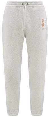 Burberry Marshall Logo-embroidered Cotton Track Pants - Mens - Grey