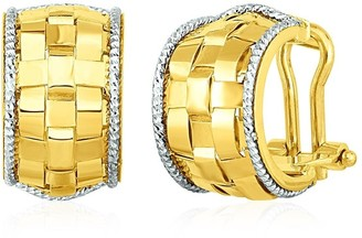 Mayamila Wide Hoop Earrings with Basket Weave Texture in 14k Yellow and White Gold