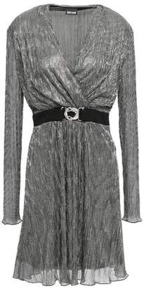 Just Cavalli Belted Wrap-effect Lame Dress