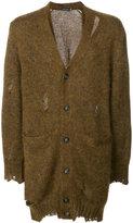 Alexander McQueen distressed longline cardigan - men - Silk/Mohair - S