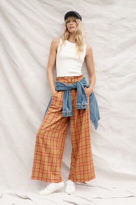 Maeve Albane Plaid Pants By in Brown Size L