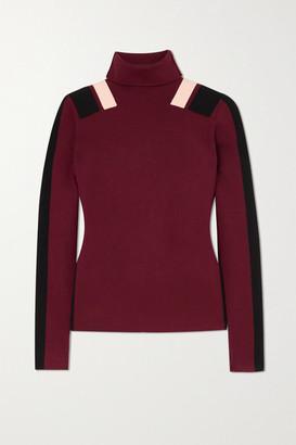 Victoria Victoria Beckham Color-block Knitted Turtleneck Sweater - Burgundy
