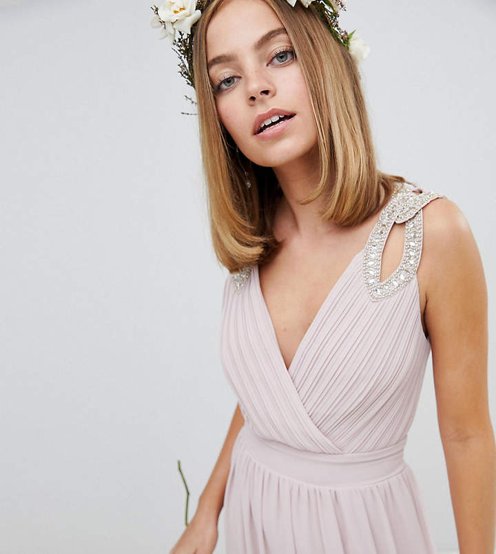 TFNC Petite Petite Wrap Front Maxi Bridesmaid Dress With Embellished Shoulder