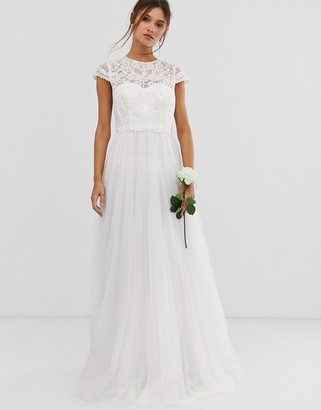 Asos Edition EDITION embroidered bodice wedding dress with mesh skirt-White