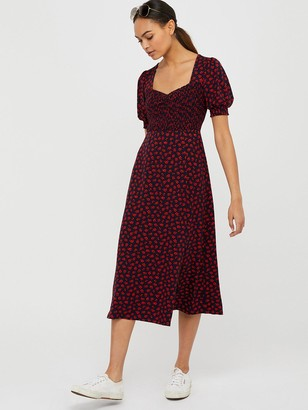 Monsoon Meaghan Shirred Jersey Ditsy Print Dress