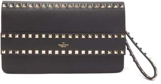Valentino Rockstud Smooth-leather Wristlet Clutch - Womens - Black
