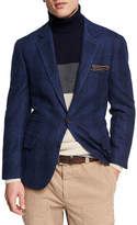 Brunello Cucinelli Glen Plaid Wool-Cotton Sport Coat, Dark Blue