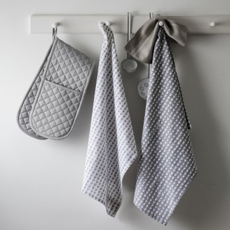 The White Company Heart Print Tea Towel Set of 2. One Size. Grey/White