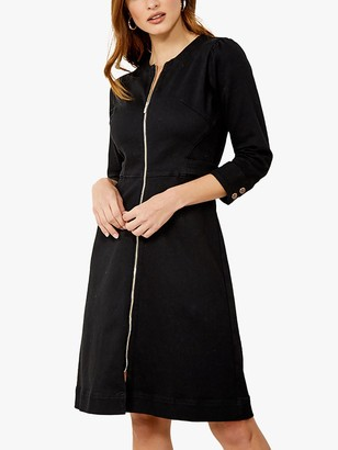 Sosandar Zip Front Collarless Denim Dress, Black