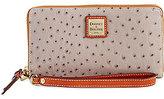 Dooney & Bourke Ostrich Collection Large Zip-Around Wristlet