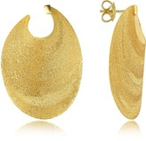 Stefano Patriarchi Golden Silver Etched Oval Shield Drop Earrings