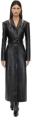 MATÉRIEL BELTED FAUX LEATHER TRENCH COAT