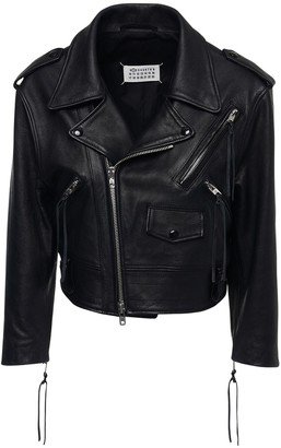 Maison Margiela Crop Leather Biker Jacket