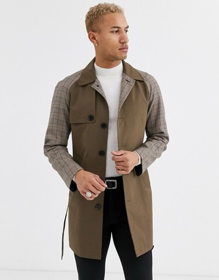 Devils Advocate premium contrast fabric oversized trench coat-Brown