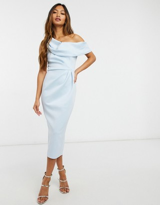 ASOS DESIGN drape fallen shoulder midi pencil dress in soft blue