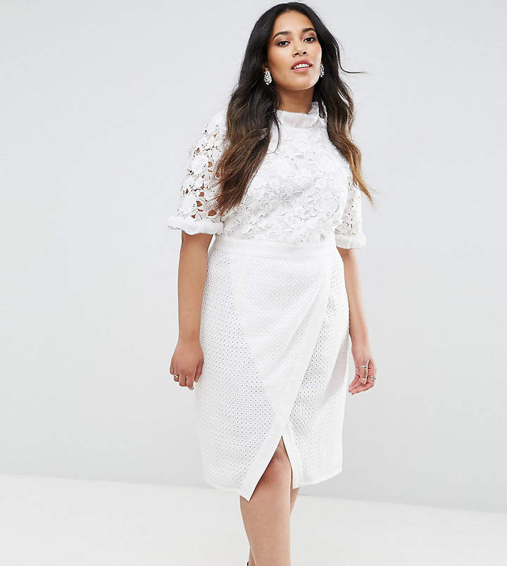 Truly You Lace Bodice Pencil Dress With Ruffle Neck And Wrap Skirt