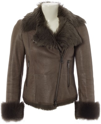 Ventcouvert Grey Shearling Coat for Women