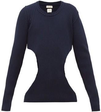 Bottega Veneta Cut-out Ribbed Cotton-blend Sweater - Navy