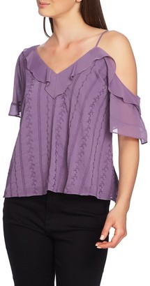 1 STATE Ruffle One-Shoulder Embroidered Top