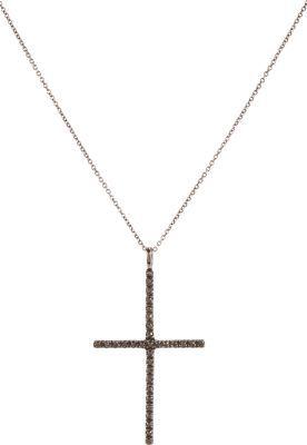 Ileana Makri Black Diamond & Oxidized White Gold Classic Cross Pendant Necklace