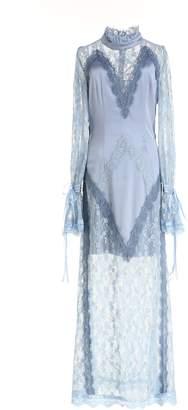 Couture Comino London Elegant Light Blue Lace Slip Maxi Dress